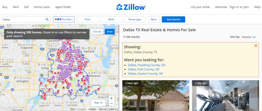画像:ZillowサイトでDallasと入力した際のページの様子